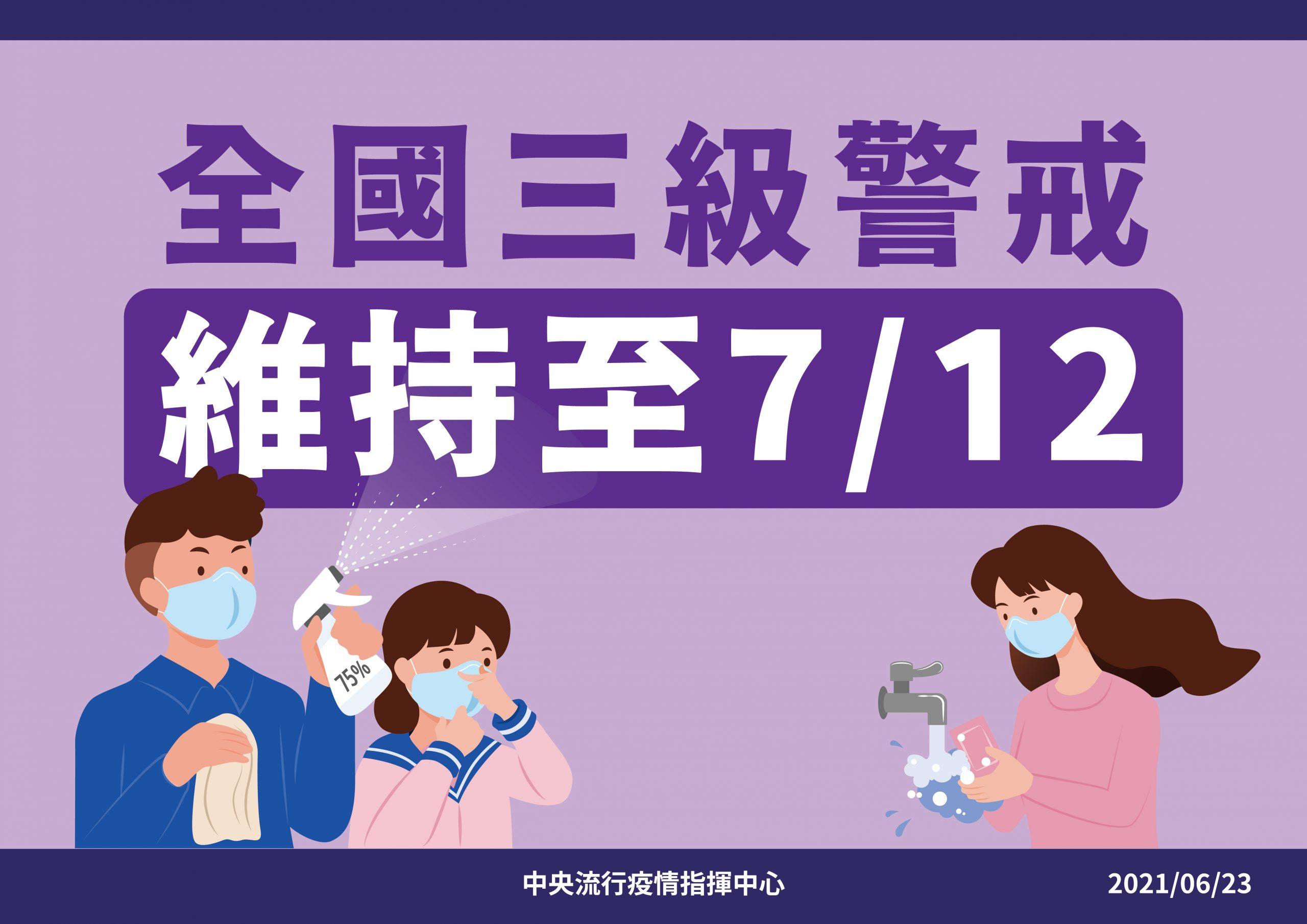 最新推播訊息:最新!三級警戒延至7/12。COVID-19防疫應落實事項公告