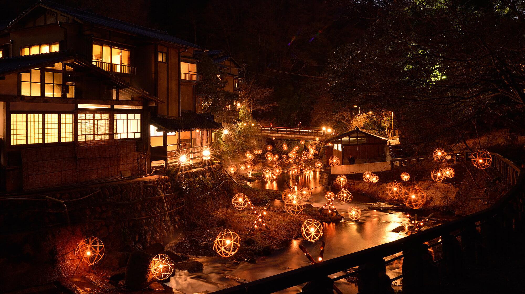 黑川溫泉湯明(湯あかり)。冬季限定|九州夢幻竹燈祭2019