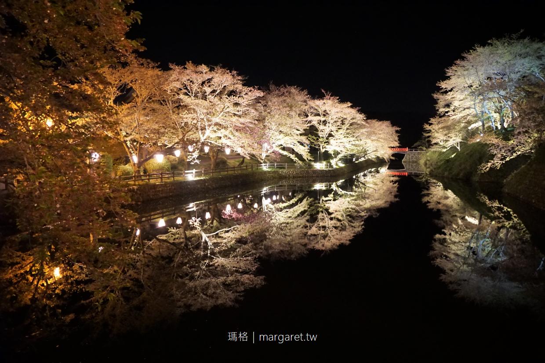 鹿野城跡公園。鳥取賞櫻名所|護城河夜櫻倒影之美