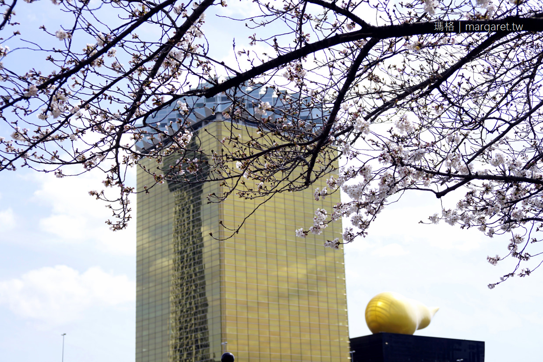 ASAHI朝日啤酒塔、晴空塔、櫻花同框|隅田川賞櫻趣